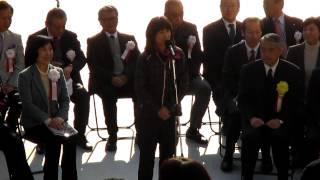 2014年1月26日。新宿シティハーフマラソン開会式にて、谷川真理さんのス...