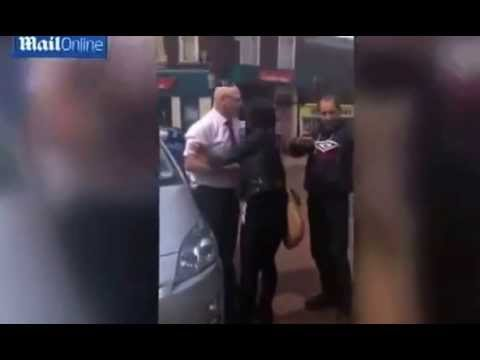 Moment taxi driver makes citizen arrest after woman tries to flee his cab without paying £25 fare.