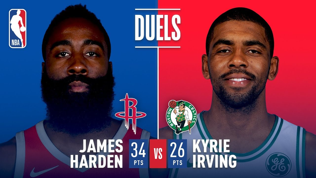 beddaa85c7a Kyrie Irving (26 points)   James Harden (34 points) Duel In Boston ...
