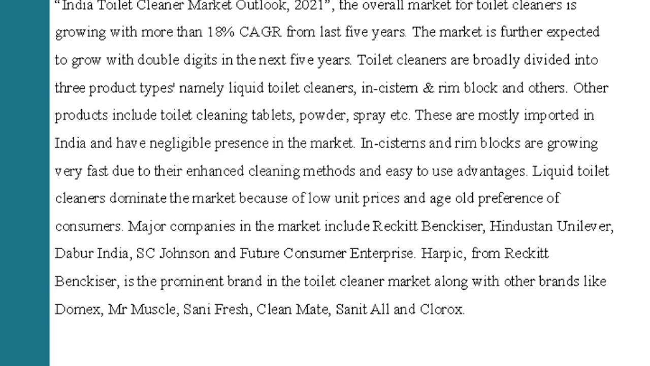 India Toilet Cleaner Market Outlook 2021 - YouTube