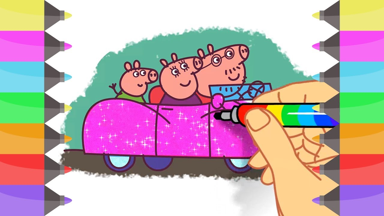 How to Draw Peppa Pig Family Car | Coloring Pages for Girls | Cute ...