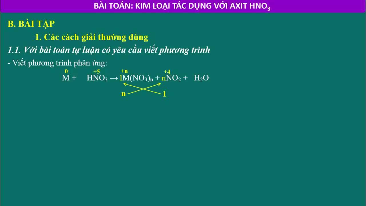 Phương pháp giải bài toán: Kim loại tác dụng với HNO3