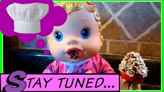 "BABY ALIVE""S COOKING SHOW!! Making CHOCOLATE COVERED STRAWBERRIES!"