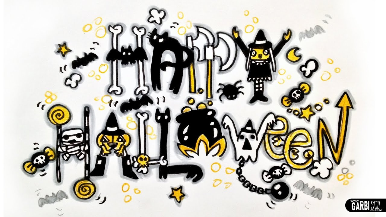 how to draw happy halloween in bubble letters | frameimage