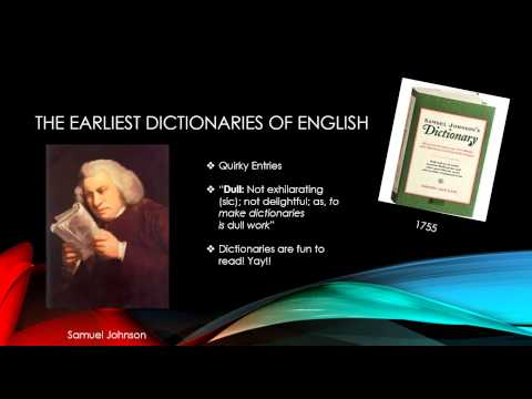 History of English the English Dictionary (Lexicography)