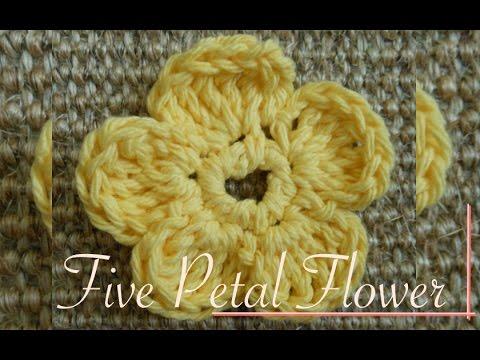 Simple Five Petals Crochet Flower Video Tutorial Left Handed