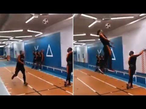 Van Dijk Leaps Three Metres In The Air To Head A Football Youtube
