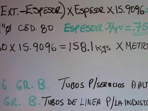 Tuberia f rmula para calcular el peso de los tubos youtube - Como soldar hierro ...