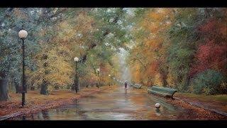 Осень в парке. Autumn in the Park. Process of creating oil painting from Oleg Buiko. 油畫  油絵