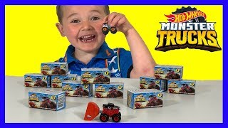 UNBOXING HOT WHEELS Monster Trucks MYSTERY Boxes!  Surprise Toy Unboxing FUN for KIDS