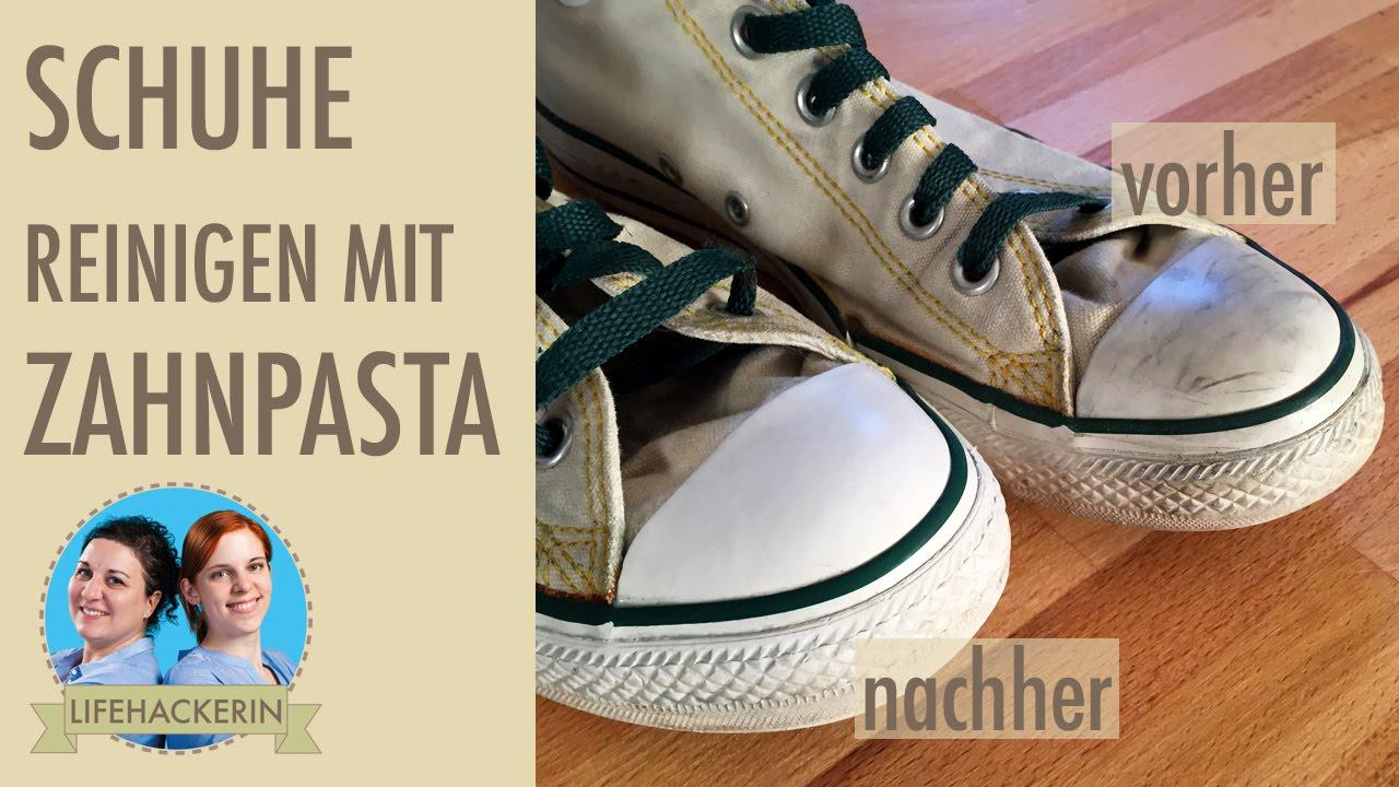 Sneakers reinigen | mit Zahnpasta putzen