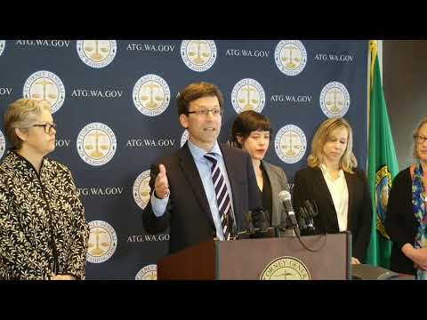 Washington Attorney General Bob Ferguson on charity care settlement with CHI Franciscan 4-29-2019