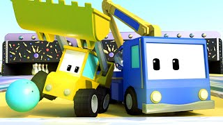 The Bowling Alley - Tiny Trucks for Kids with Street Vehicles Bulldozer, Excavator & Crane