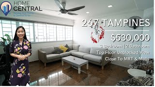 Incredibly Large 4-Room Top Floor Unblocked View Unit In Tampines For $530K | Singapore Home Tour