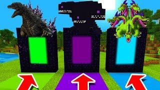 Minecraft PE : DO NOT CHOOSE THE WRONG DIMENSION! (Godzilla, Wither Storm & Hydra Dragon)
