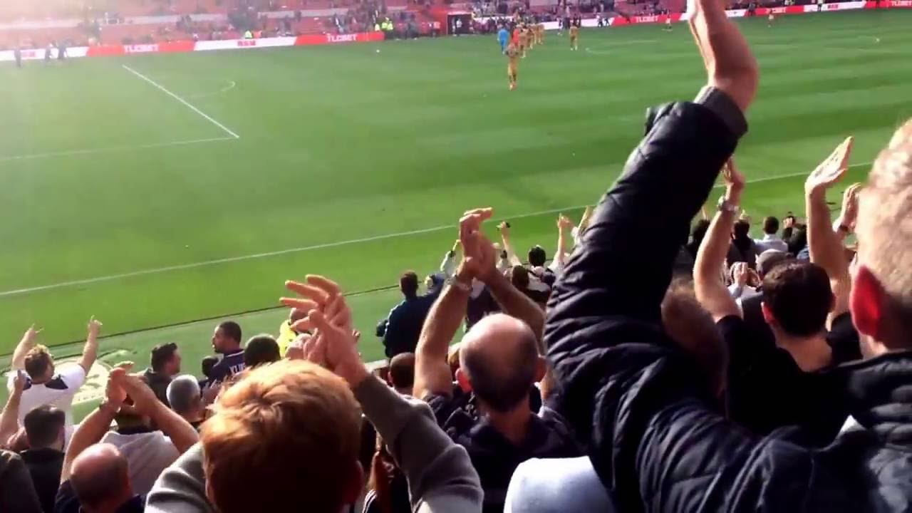 Spurs fans at Middlesbrough away | Singing at full-time