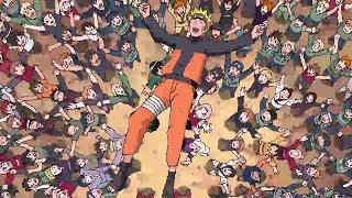 Наруто возвращается домой после боя с Пейном его встречает вся деревня
