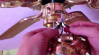 Replacing a broken pull chain switch on a ceiling fan.