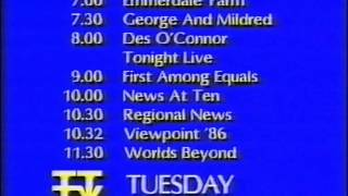 Tyne Tees Television - TTTV - ITV - Continuity - 1986