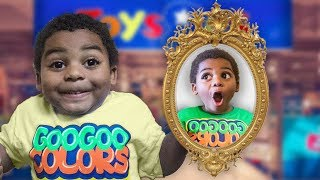 GOO GOO GAGA WENT TO TOYS R US THROUGH MAGIC MIRROR! Pretend play with Goo Goo Colors