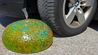 Crushing Crunchy & Soft Things by Car! EXPERIMENT CAR vs GIANT ORBEEZ WATER BALLOON