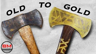 Restoration of an Antique Rusty Axe // Woodworking, Brass plating & Metal etching.