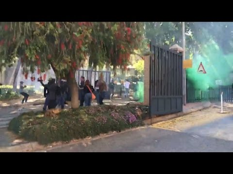 South Africa police fire stun grenades at student protests