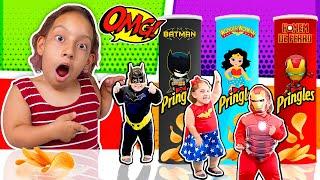 MC DIVERTIDA Magic Pringles Super Hero 프링글스를 먹으면 무엇으로 변할까요?!  마법 프링글스  New Stories for Kids