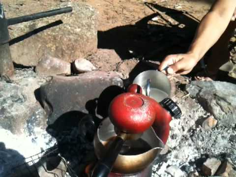 Atomic Coffee Machine on an open fire in Australia