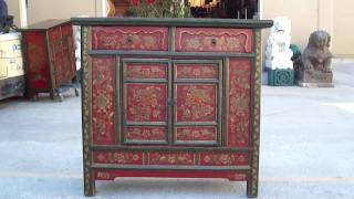 Tibetan Antique Flower Painting Side Table Cabinet Wk1895