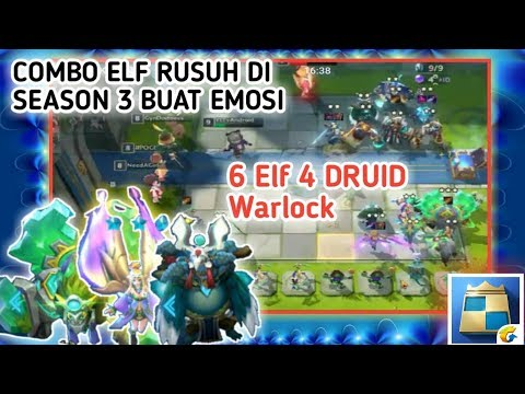 6 ELF 2 WARLOCK 4 DRUID + 3 Bintang 3 Combo Ngeselin Di Season 3 - Chess Rush Indonesia #117 - 동영상