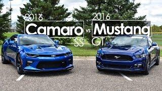 """""""بالفيديو"""" شاهد مقارنة بين فورد موستانج GT وشيفروليه كامارو SS موديل 2016"""