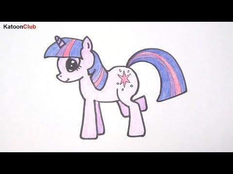โพนี่ ทไวไลท์ สปาร์คเคิล สอนวาดรูปการ์ตูนน่ารักง่ายๆ ระบายสี Pony Twilight Sparkle