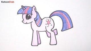 โพนี่ ทไวไลท์ สปาร์คเคิล สอนวาดรูปการ์ตูนน่ารักง่ายๆ ระบายสี Pony Twilight Sparkle Coloring Pages