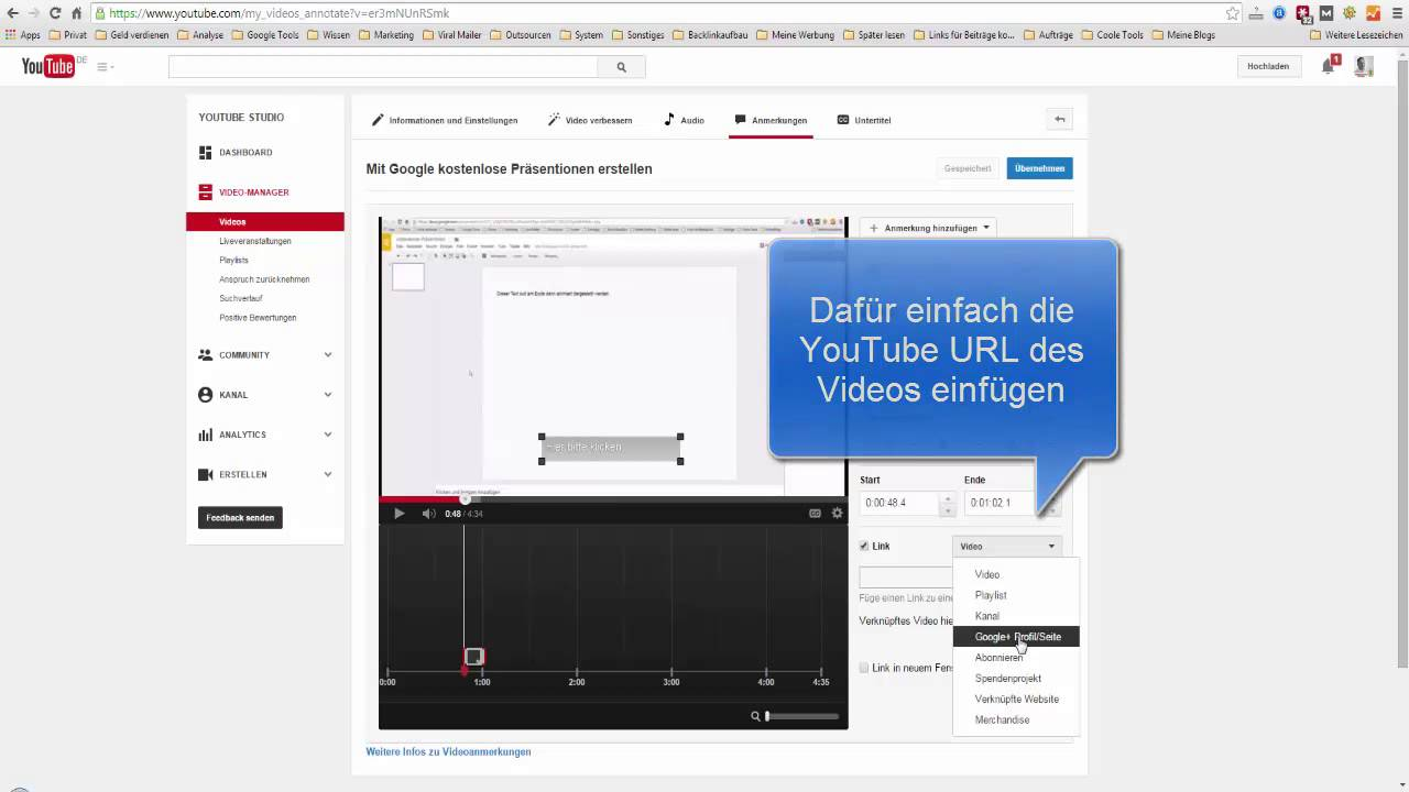 Externen Link in YouTube Video einfügen - YouTube
