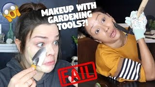 I TRIED FOLLOWING A LIZA KOSHY MAKEUP TUTORIAL...With Gardening Tools?!?!
