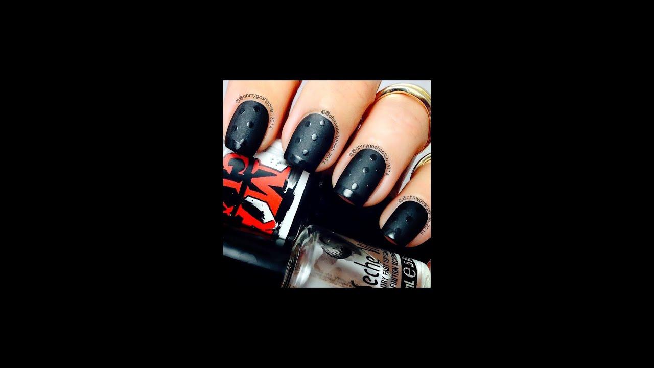 Matte Black and Shiny nail art - YouTube
