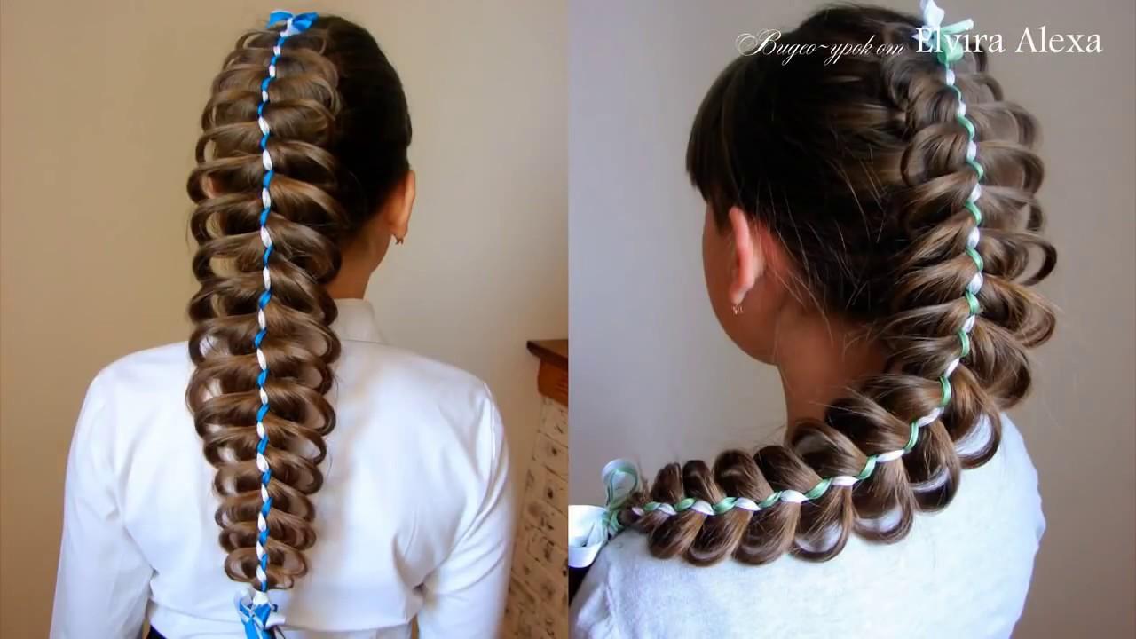 Ажурная коса с двумя лентами Плетения на каждый день Trenza con cintas