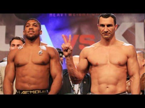 (BEASTS!) JOSHUA VS. KLITSCHKO FULL OFFICIAL WEIGH-IN; CAREER HIGH 250 LBS FOR JOSHUA