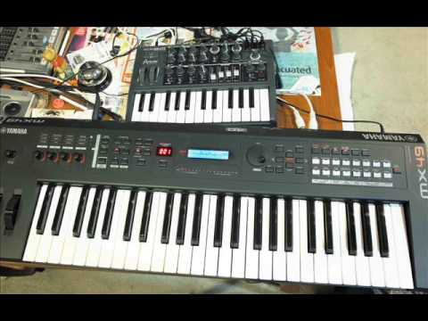 Arturia microBrute and Yamaha mx 49 Midi ARP double synthesizers