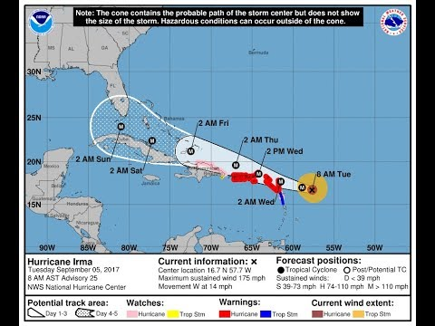 IRMA CATEGORY 5 HURRICANE WINDS 175 MPH WARNINGS LEEWARD VIRGIN ISLANDS PUERTO RICO