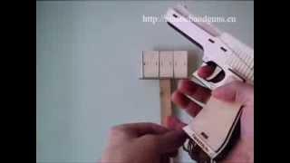 Desert Eagle - Elastic Band Gun, Rubber Band Guns, Wooden Pistol, Laser Cutted Wood Gun, 4 Shoot