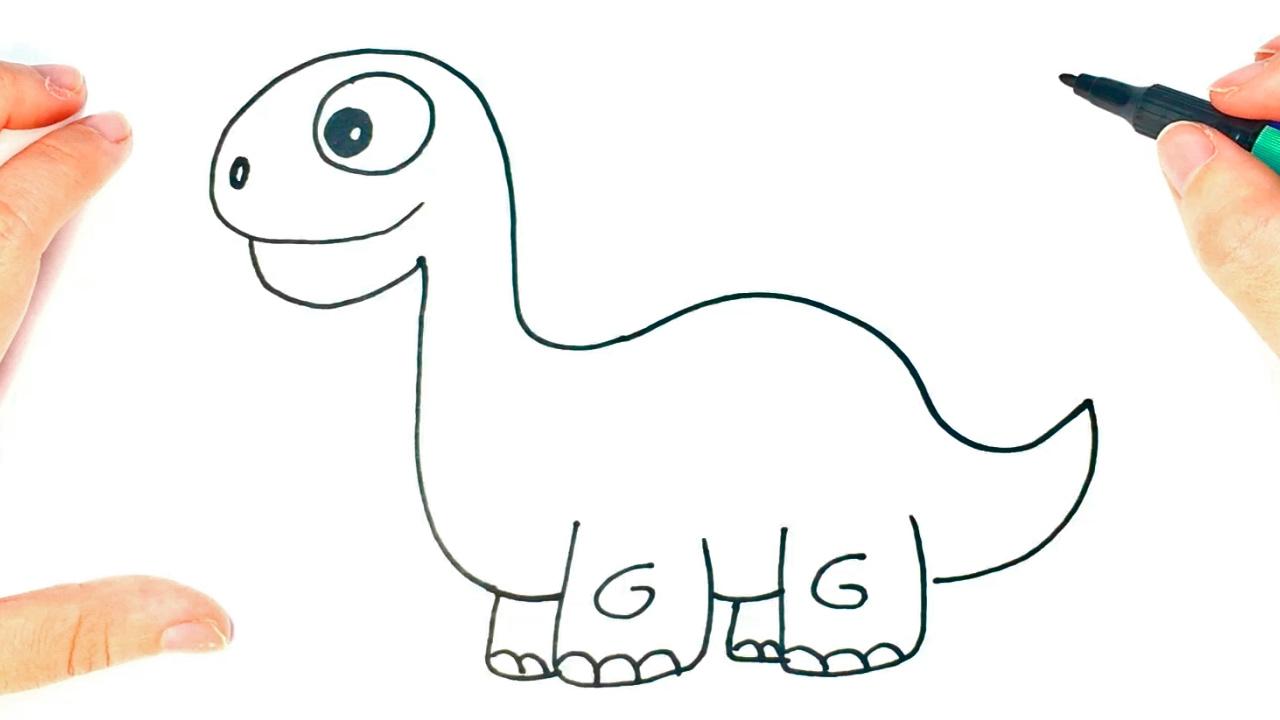How to draw a Dinosaur | Cute Dinosaur Easy Draw Tutorial ...