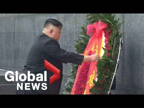 North Korea's Kim Jong Un lays wreath at war memorial in Vietnam