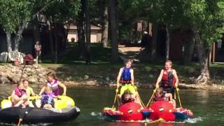 Water tubing fun, pulling 3 tubes with a crew