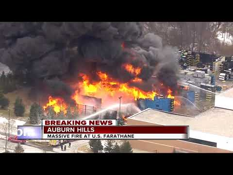 Massive fire breaks out at plastics manufacturing facility in Auburn Hills