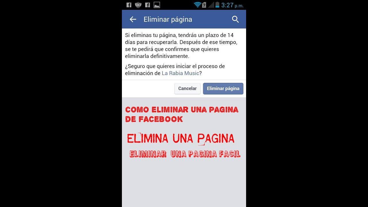 8386278a993fc Como Eliminar Una Pagina De facebook Desde Mi Celular Facil 2018 ...