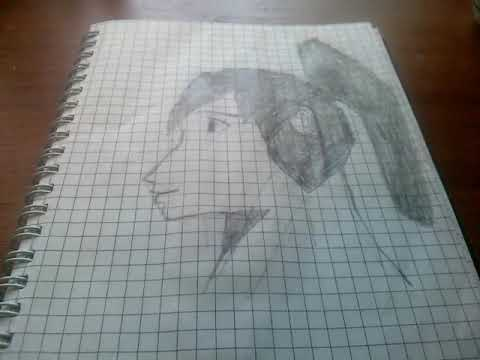 Рисунок лица девушки в профиль.