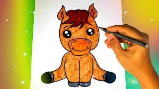 Как нарисовать милую ЛОШАДЬ? Лёгкие рисунки для детей и начинающих