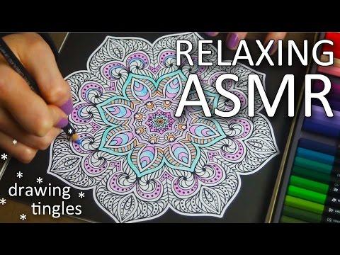 ASMR Drawing, colouring a mandela (🎧 no talking, colouring pencils, paper sounds)